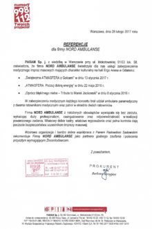 Referencje od firmy PARAM Sp. j. za wykonane zabezpieczenia medyczne na ERGO ARENIE